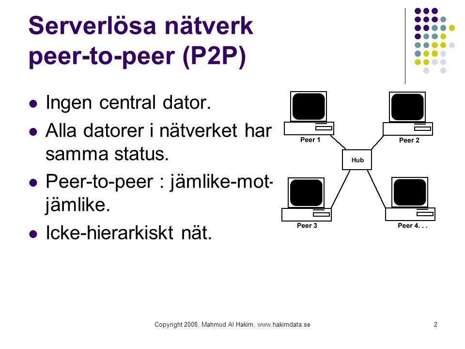 Serverlösa nätverk peer-to-peer (P2P)