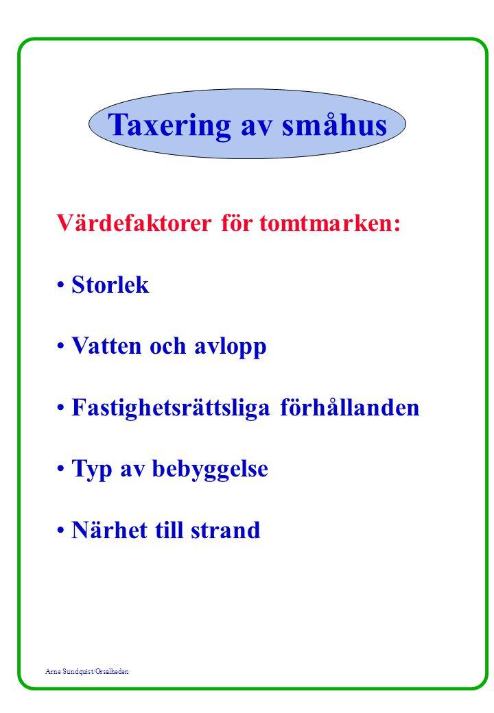 Taxering av småhus Värdefaktorer för tomtmarken: Storlek