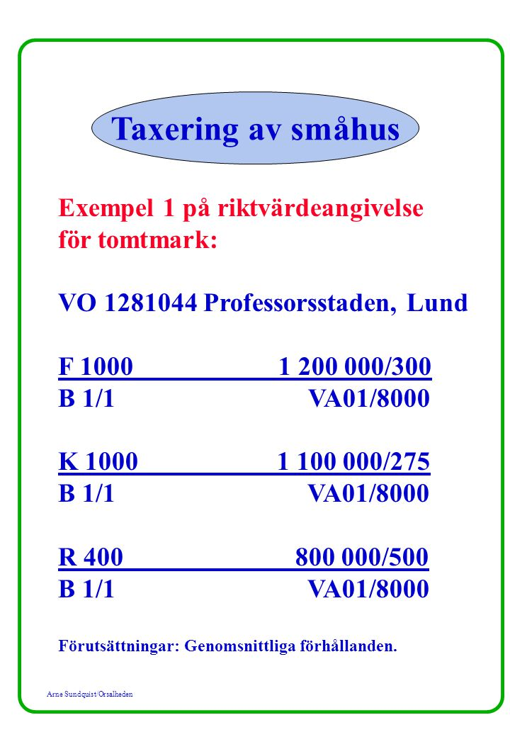 Taxering av småhus Exempel 1 på riktvärdeangivelse för tomtmark: