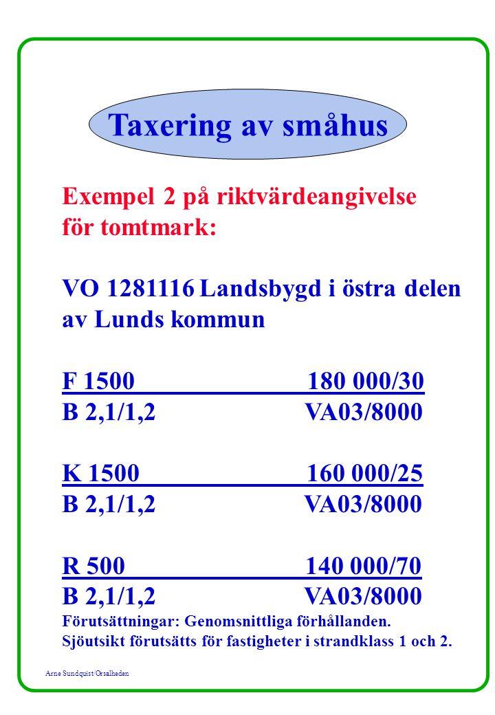 Taxering av småhus Exempel 2 på riktvärdeangivelse för tomtmark: