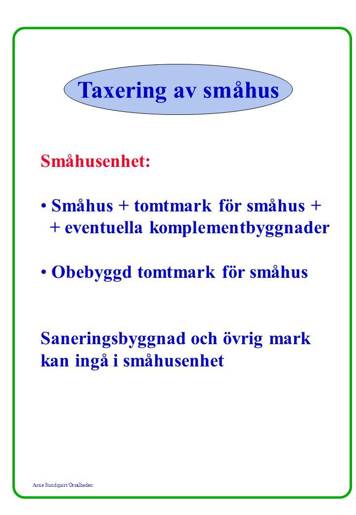 Taxering av småhus Småhusenhet: