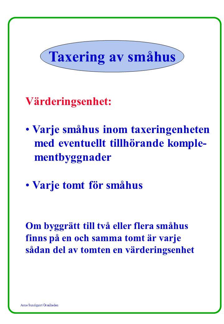 Taxering av småhus Värderingsenhet:
