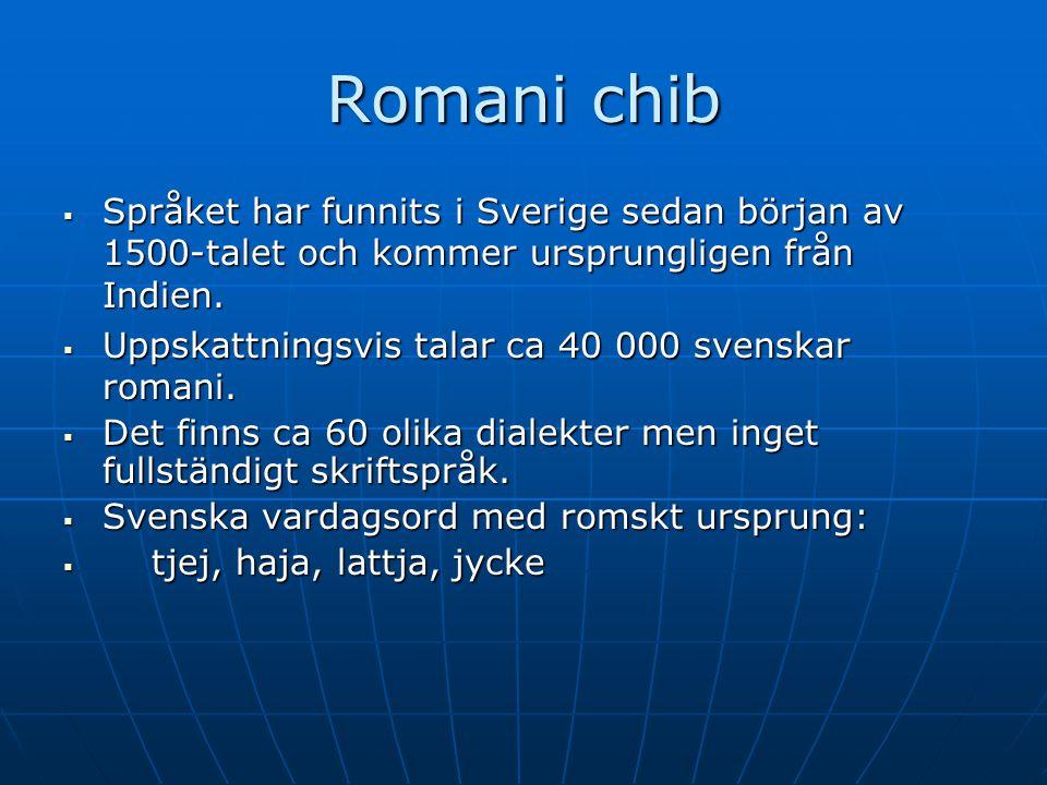 Romani chib Språket har funnits i Sverige sedan början av 1500-talet och kommer ursprungligen från Indien.