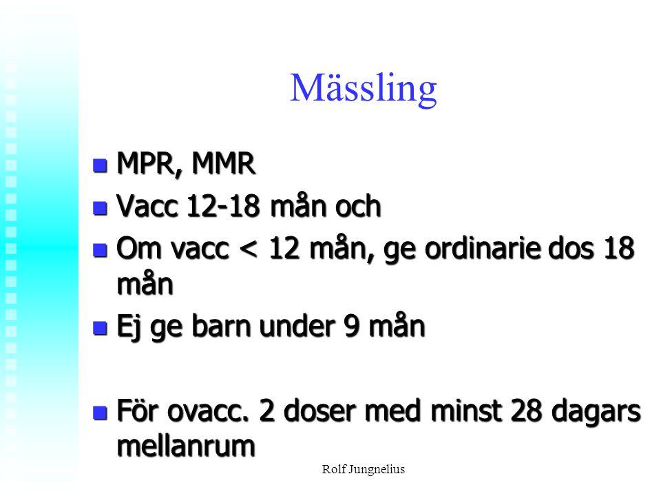 Mässling MPR, MMR Vacc 12-18 mån och
