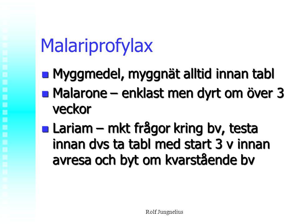 Malariprofylax Myggmedel, myggnät alltid innan tabl