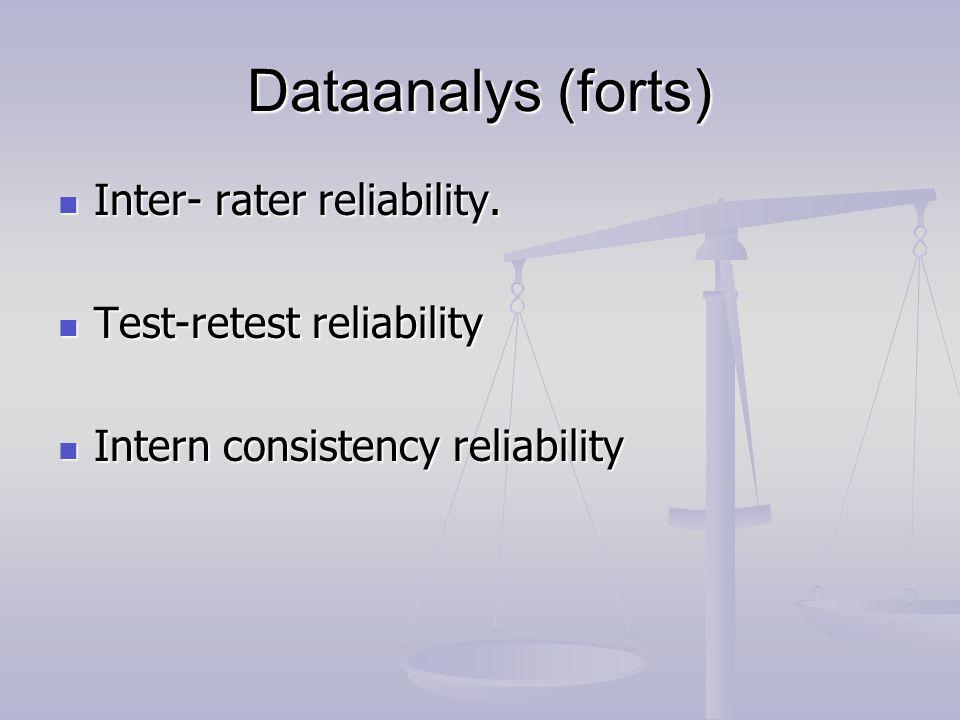 Dataanalys (forts) Inter- rater reliability. Test-retest reliability