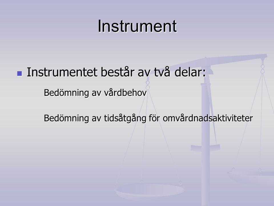 Instrument Bedömning av vårdbehov Instrumentet består av två delar: