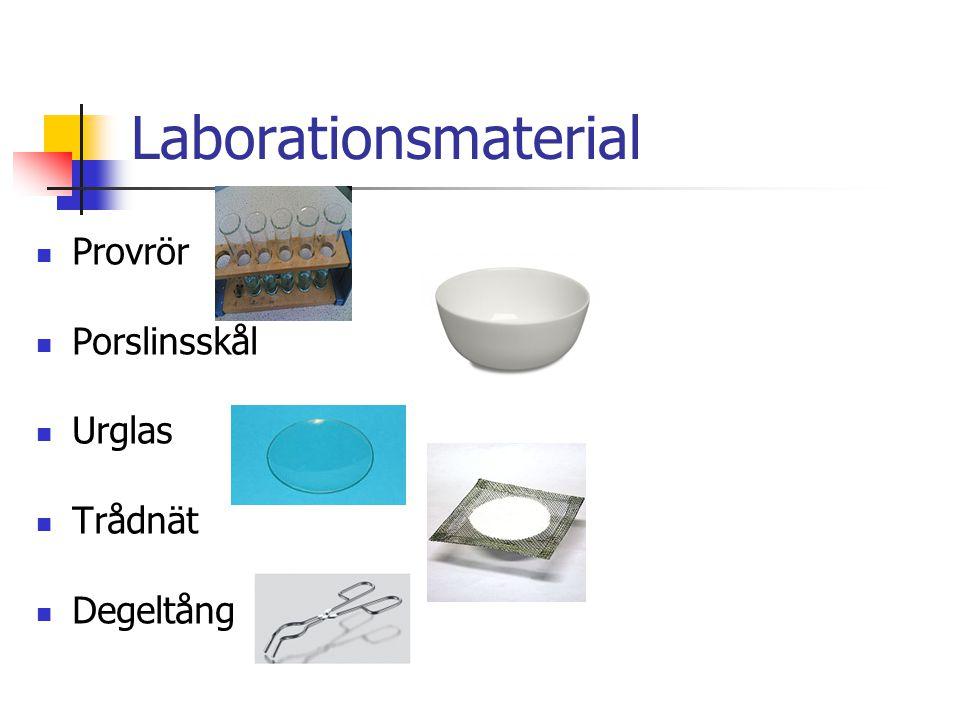 Laborationsmaterial Provrör Porslinsskål Urglas Trådnät Degeltång