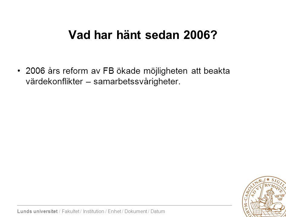 Vad har hänt sedan 2006.