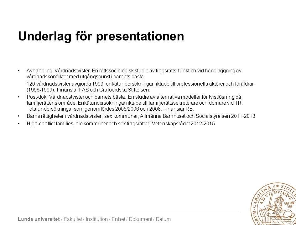 Underlag för presentationen