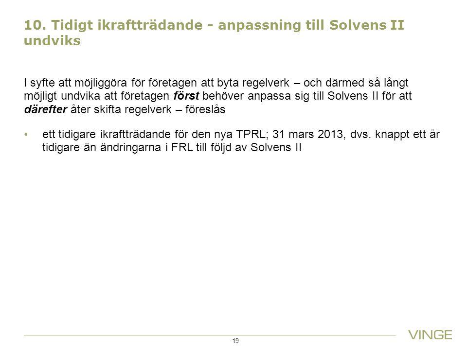 10. Tidigt ikraftträdande - anpassning till Solvens II undviks