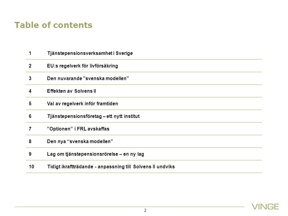 Table of contents 14/03/2012 1 Tjänstepensionsverksamhet i Sverige 2