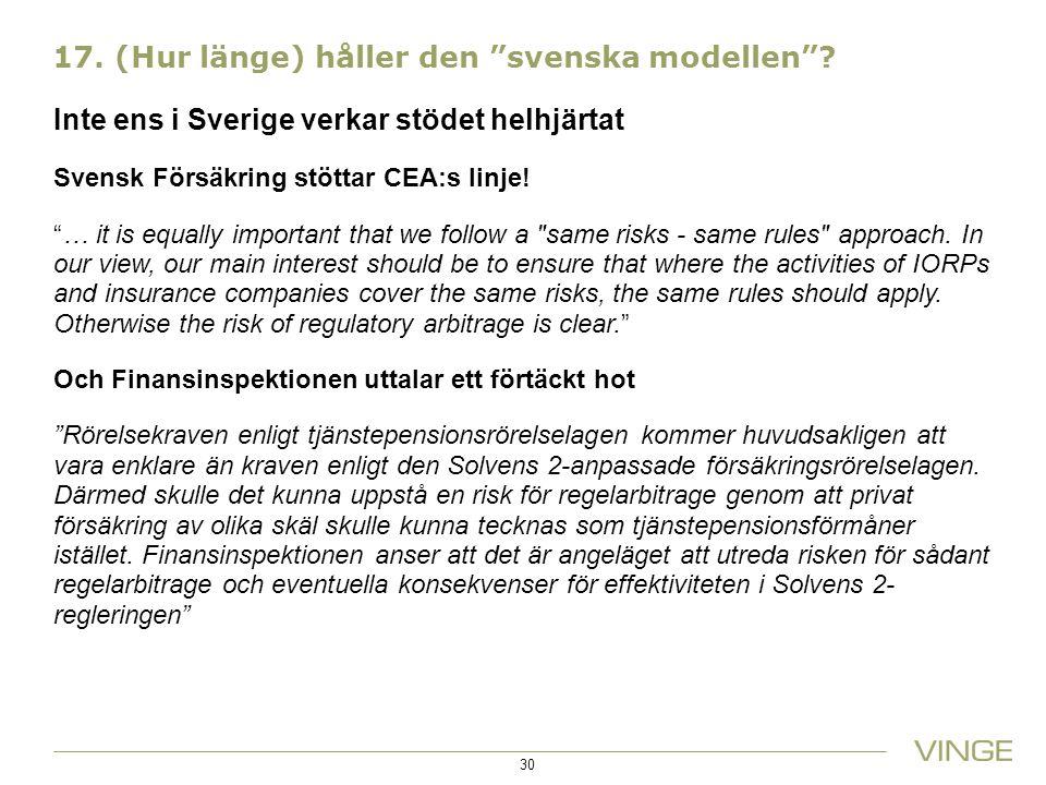 17. (Hur länge) håller den svenska modellen