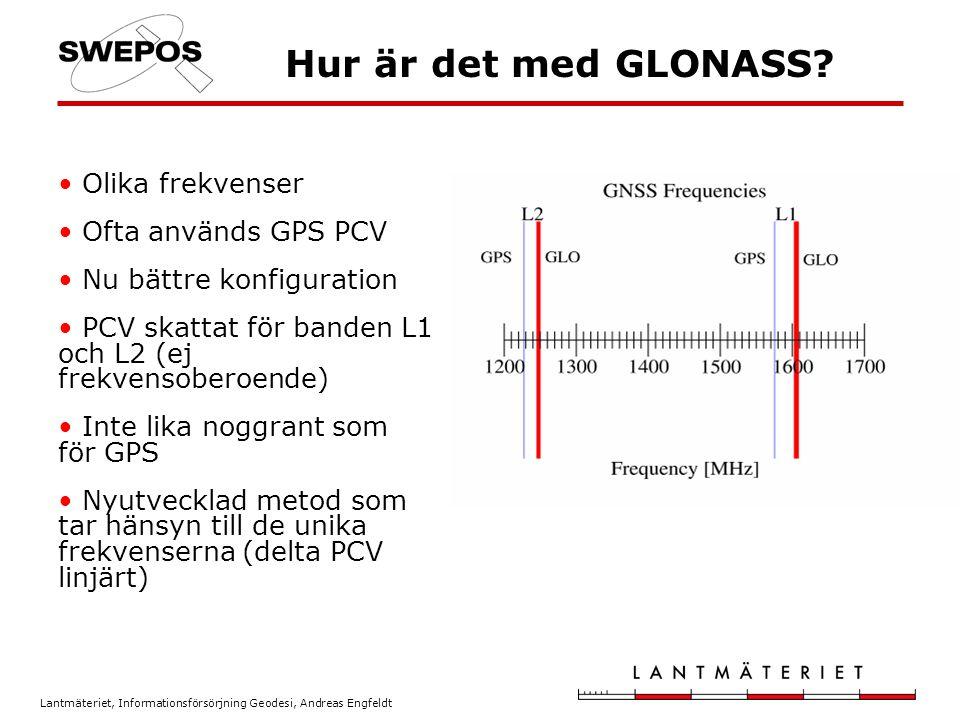 Hur är det med GLONASS Olika frekvenser Ofta används GPS PCV