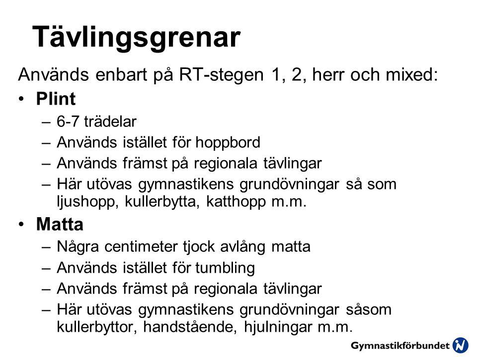 Tävlingsgrenar Används enbart på RT-stegen 1, 2, herr och mixed: Plint