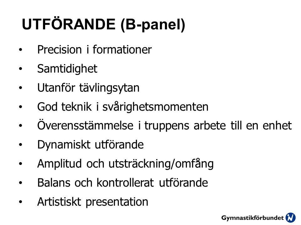 UTFÖRANDE (B-panel) Precision i formationer Samtidighet