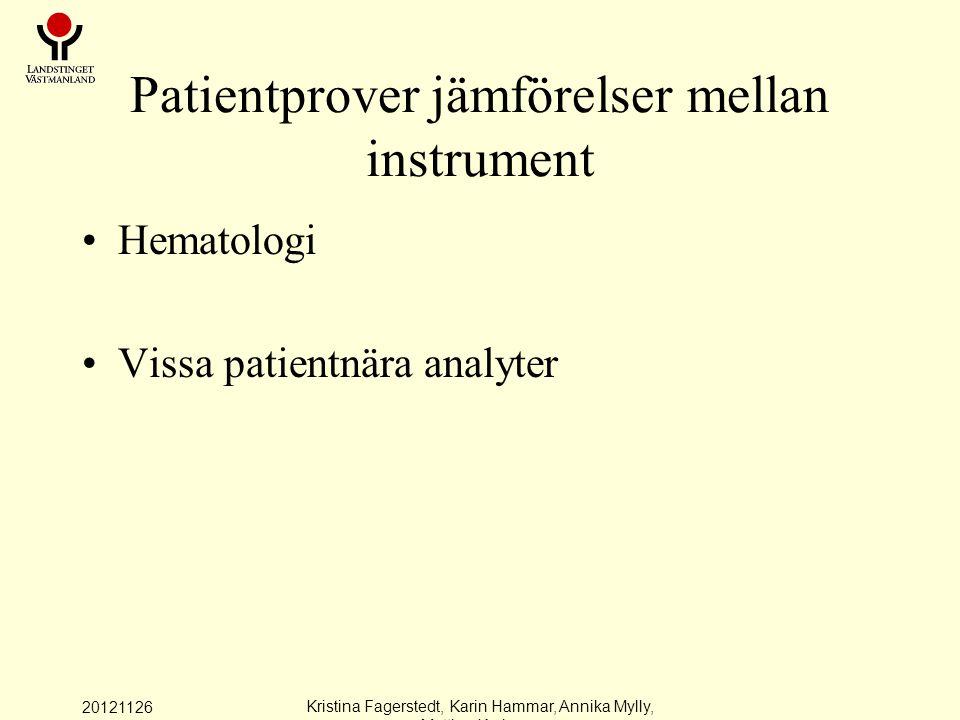Patientprover jämförelser mellan instrument