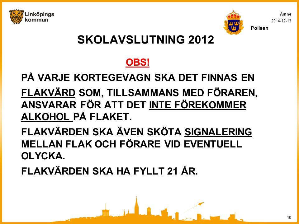 SKOLAVSLUTNING 2012 OBS! PÅ VARJE KORTEGEVAGN SKA DET FINNAS EN
