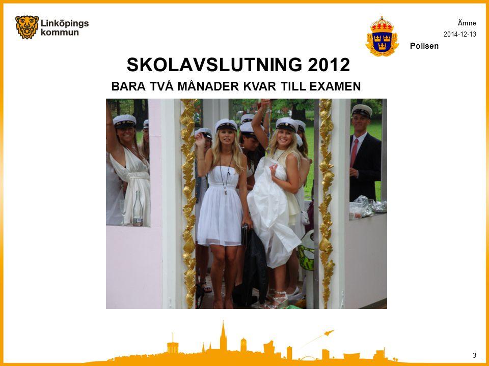 SKOLAVSLUTNING 2012 BARA TVÅ MÅNADER KVAR TILL EXAMEN Polisen Ämne