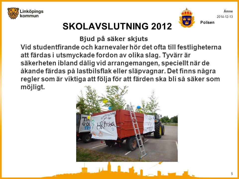 SKOLAVSLUTNING 2012 Bjud på säker skjuts