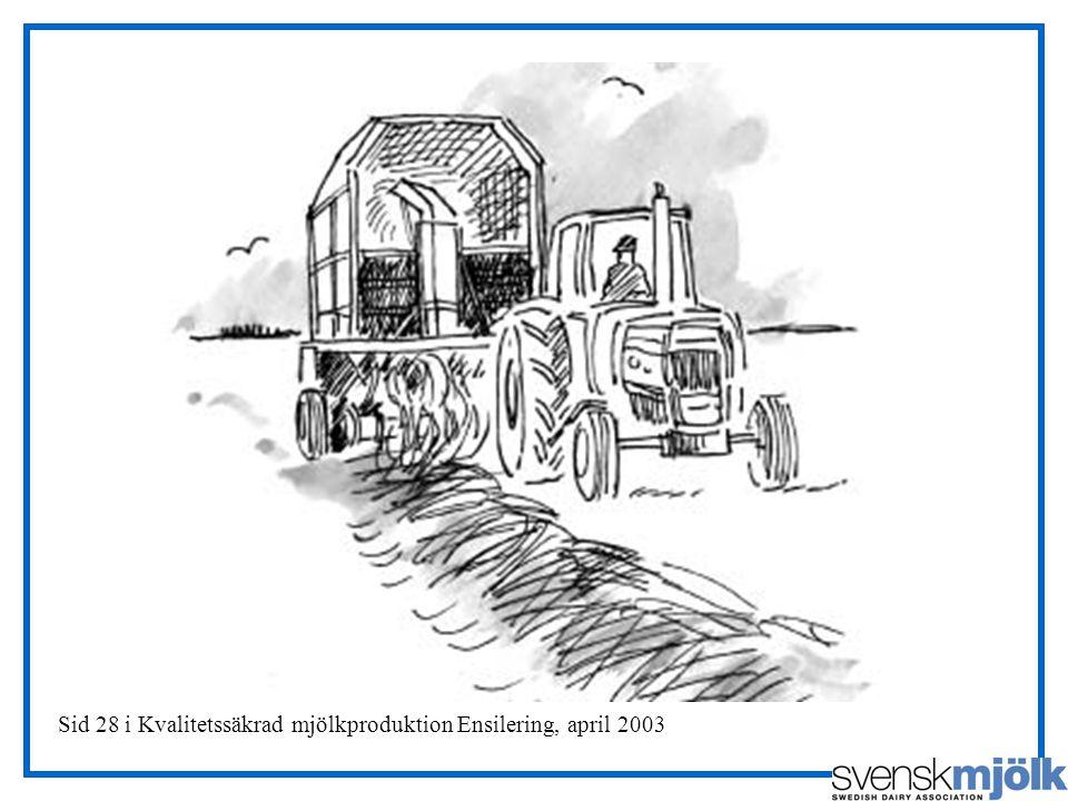 Sid 28 i Kvalitetssäkrad mjölkproduktion Ensilering, april 2003