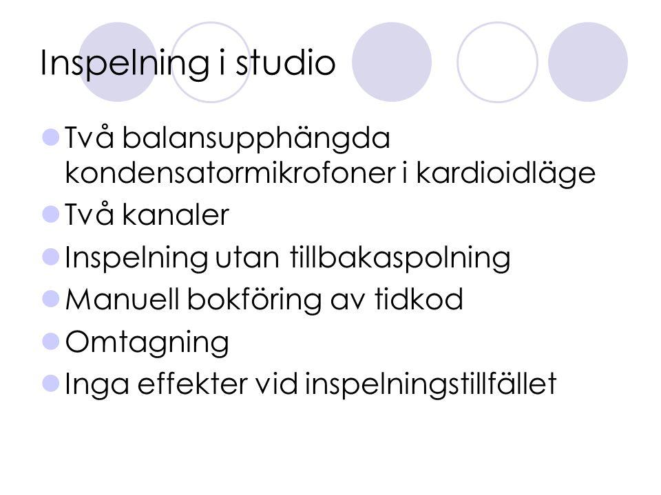 Inspelning i studio Två balansupphängda kondensatormikrofoner i kardioidläge. Två kanaler. Inspelning utan tillbakaspolning.