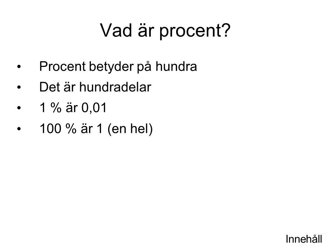 Vad är procent Procent betyder på hundra Det är hundradelar