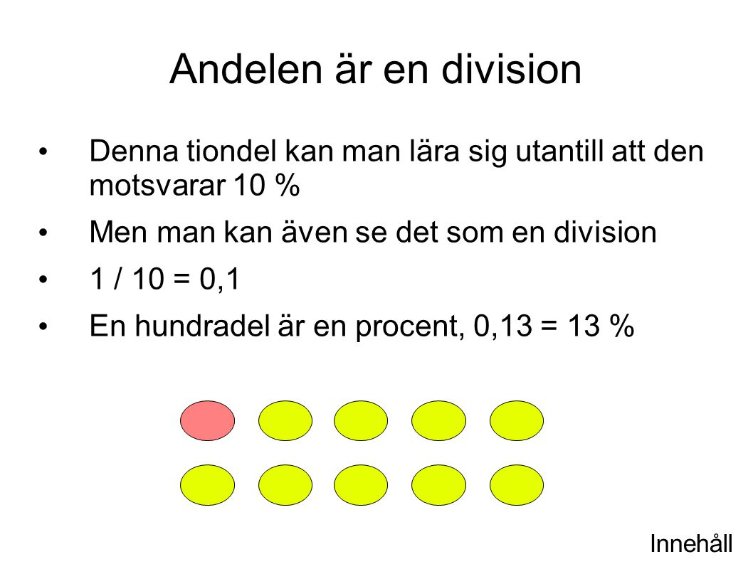 Andelen är en division Denna tiondel kan man lära sig utantill att den motsvarar 10 % Men man kan även se det som en division.