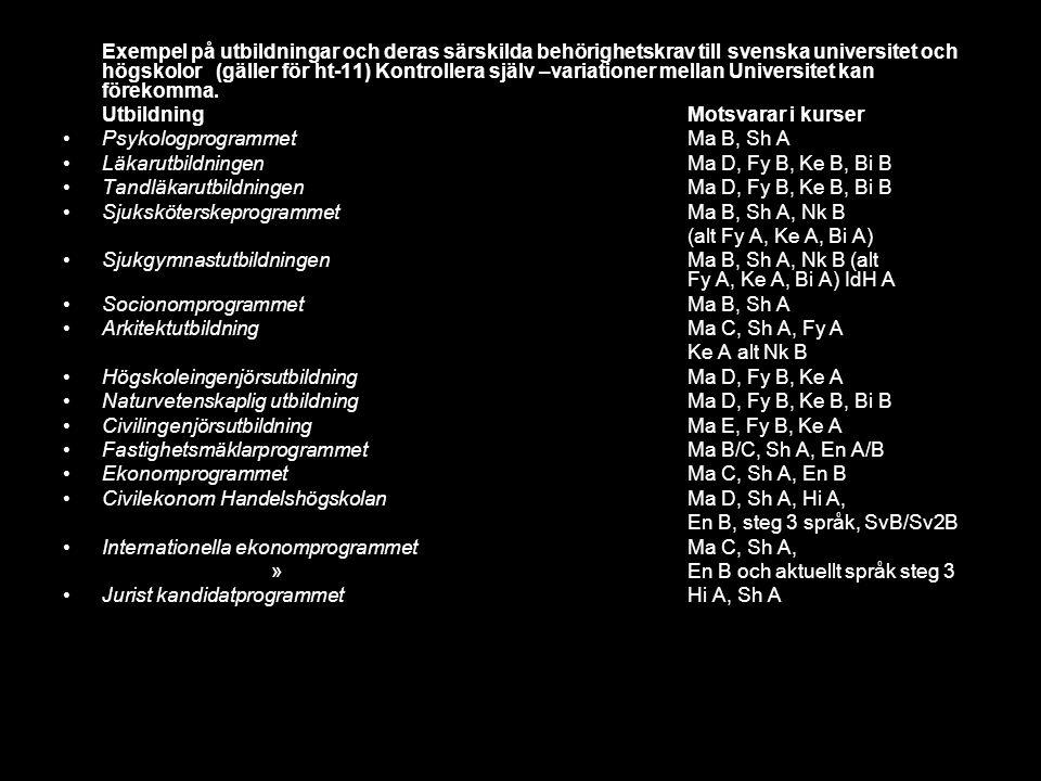 Exempel på utbildningar och deras särskilda behörighetskrav till svenska universitet och högskolor (gäller för ht-11) Kontrollera själv –variationer mellan Universitet kan förekomma.