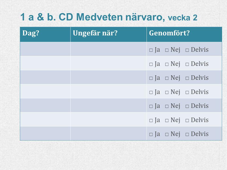 1 a & b. CD Medveten närvaro, vecka 2