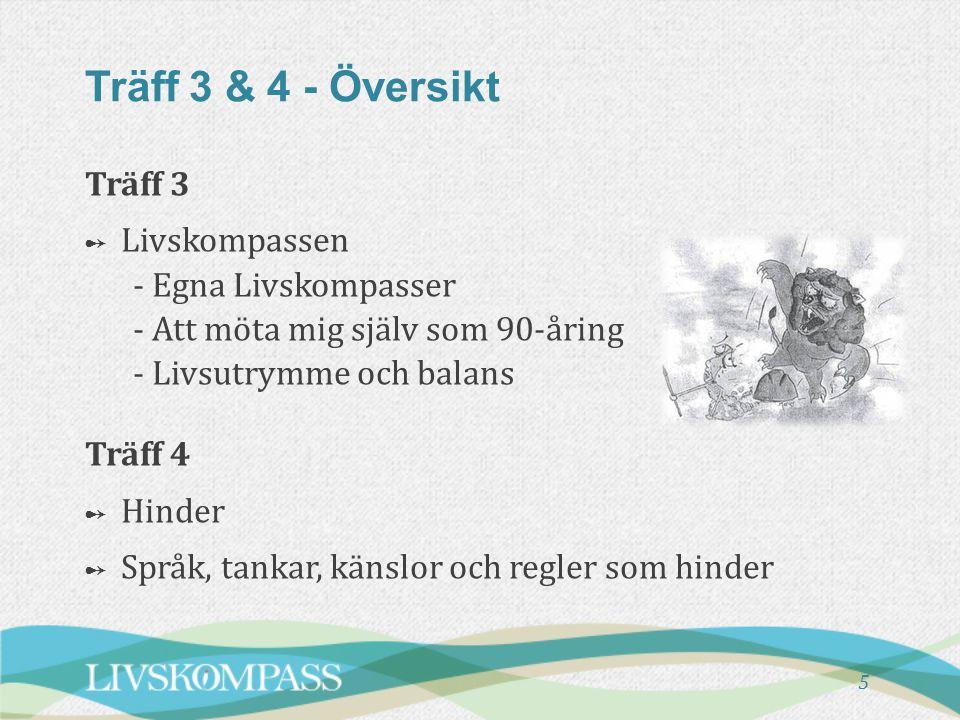 Träff 3 & 4 - Översikt Träff 3 Livskompassen - Egna Livskompasser