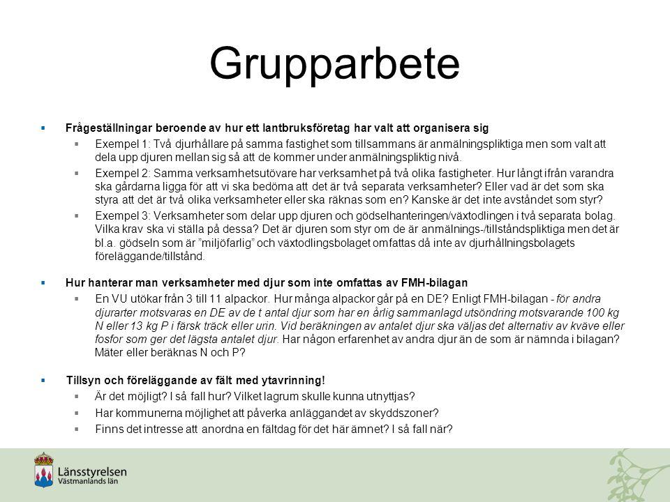 Grupparbete Frågeställningar beroende av hur ett lantbruksföretag har valt att organisera sig.