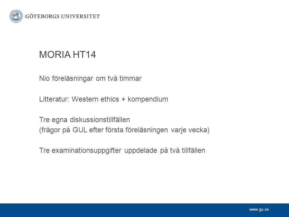 MORIA HT14 Nio föreläsningar om två timmar