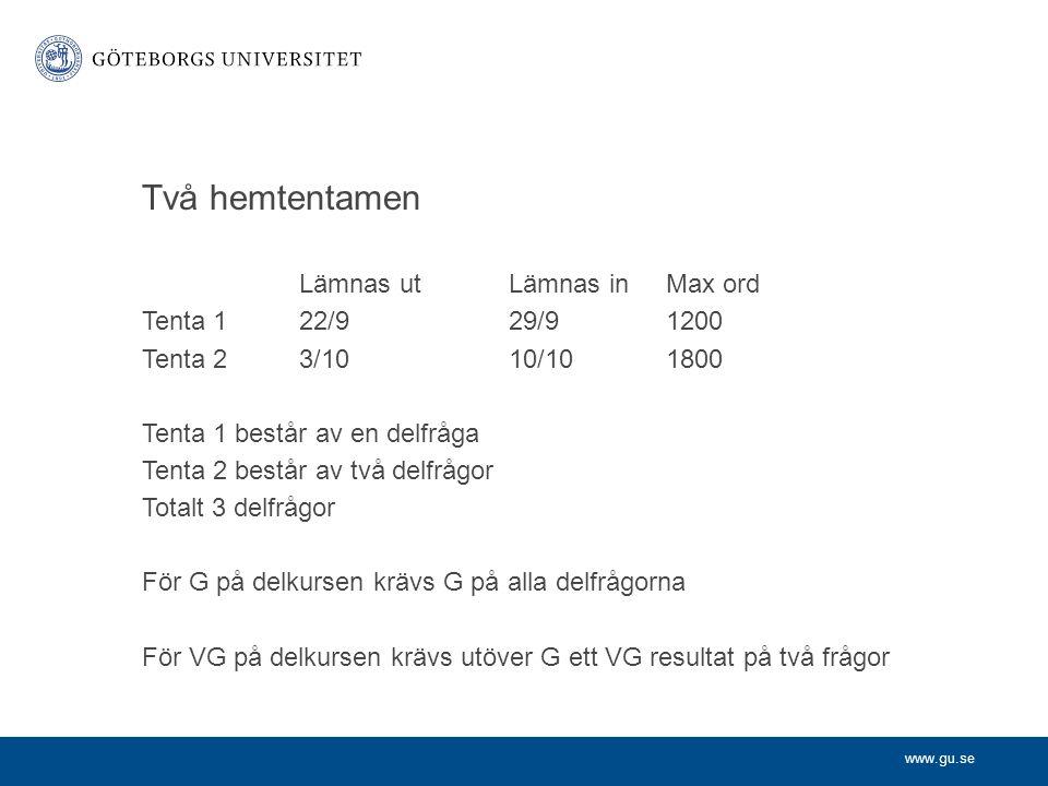 Två hemtentamen Lämnas ut Lämnas in Max ord Tenta 1 22/9 29/9 1200