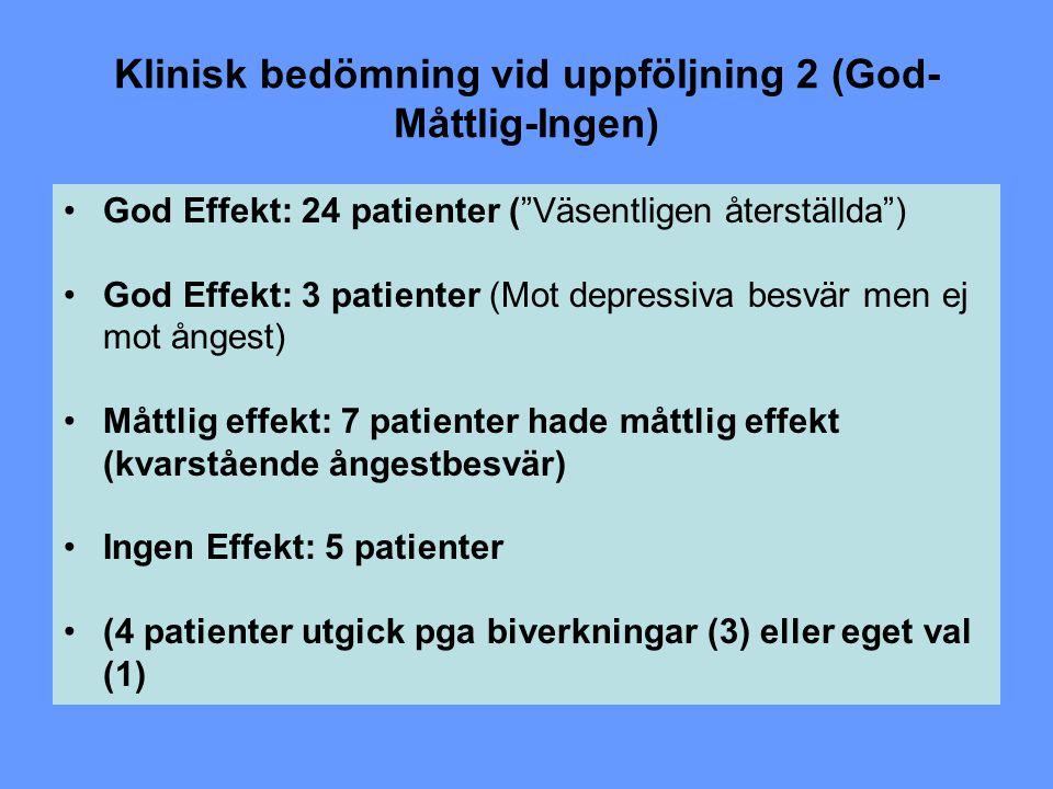 Klinisk bedömning vid uppföljning 2 (God-Måttlig-Ingen)