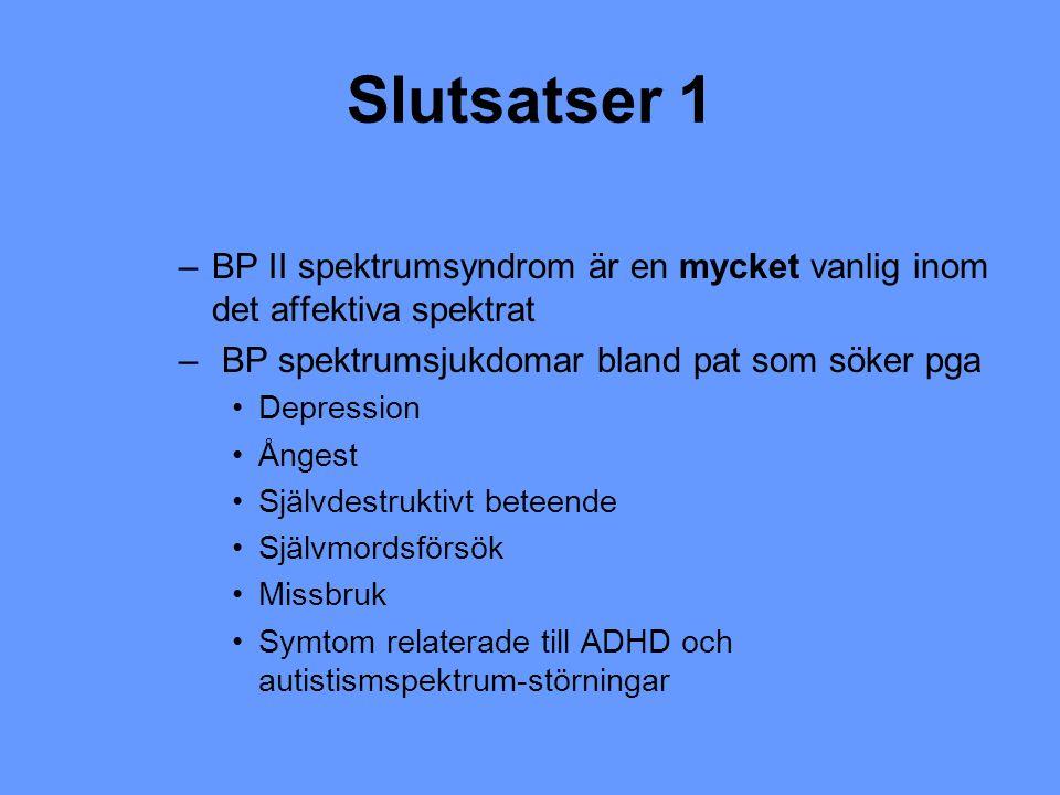 Slutsatser 1 BP II spektrumsyndrom är en mycket vanlig inom det affektiva spektrat. BP spektrumsjukdomar bland pat som söker pga.