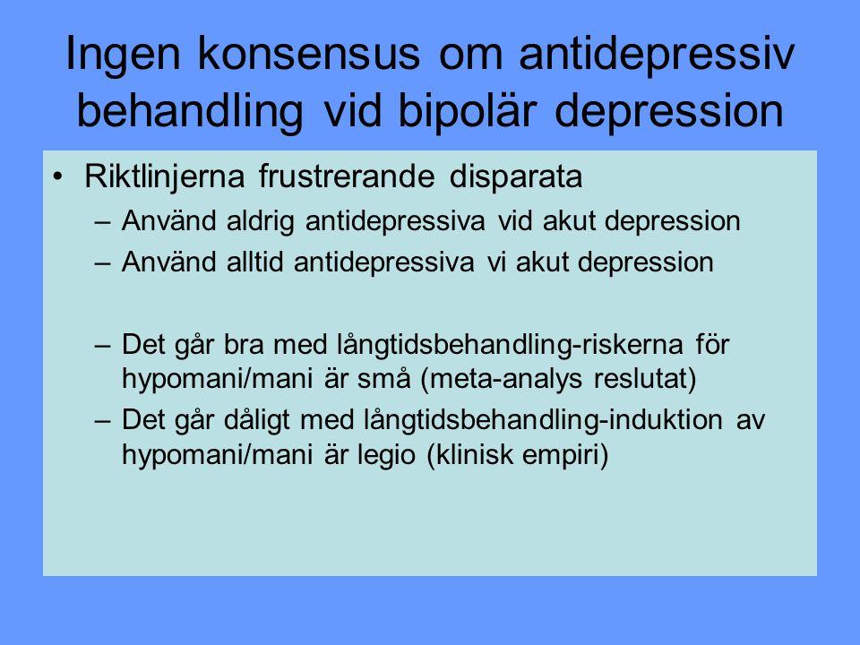 Ingen konsensus om antidepressiv behandling vid bipolär depression