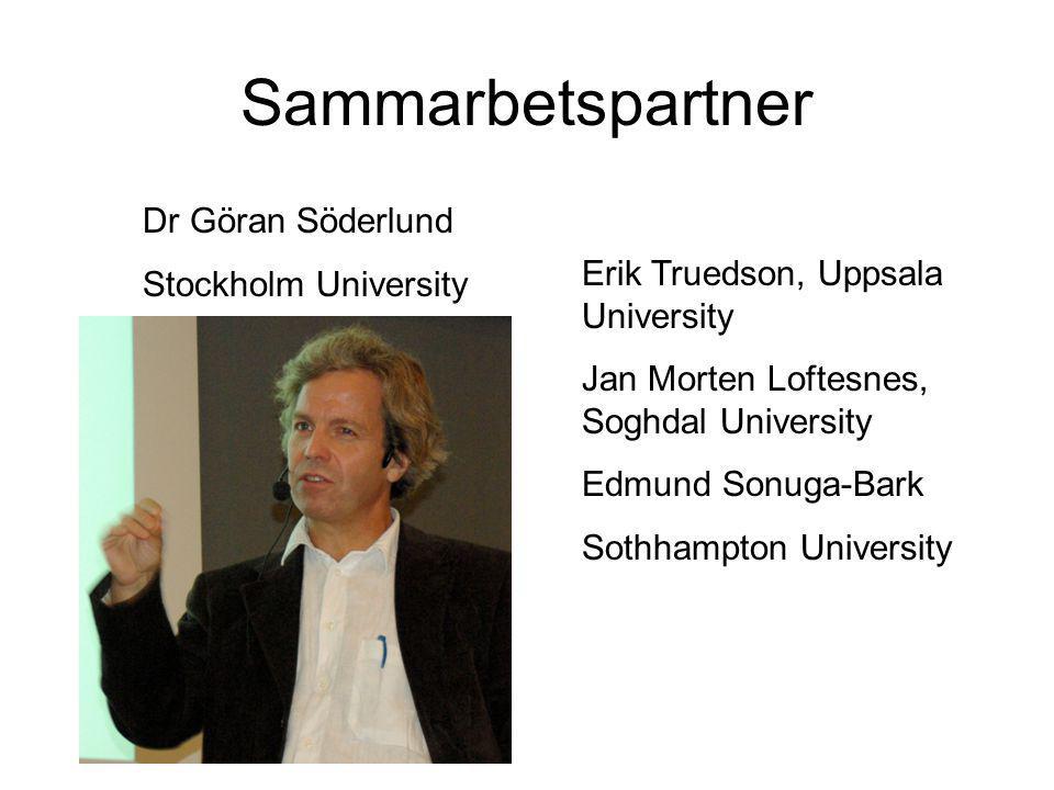Sammarbetspartner Dr Göran Söderlund Stockholm University