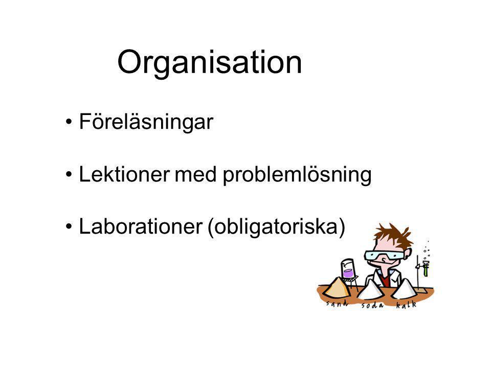 Organisation Föreläsningar Lektioner med problemlösning