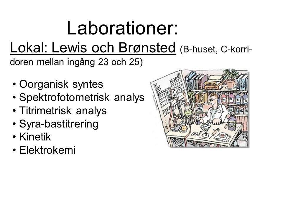 Laborationer: Lokal: Lewis och Brønsted (B-huset, C-korri-doren mellan ingång 23 och 25)