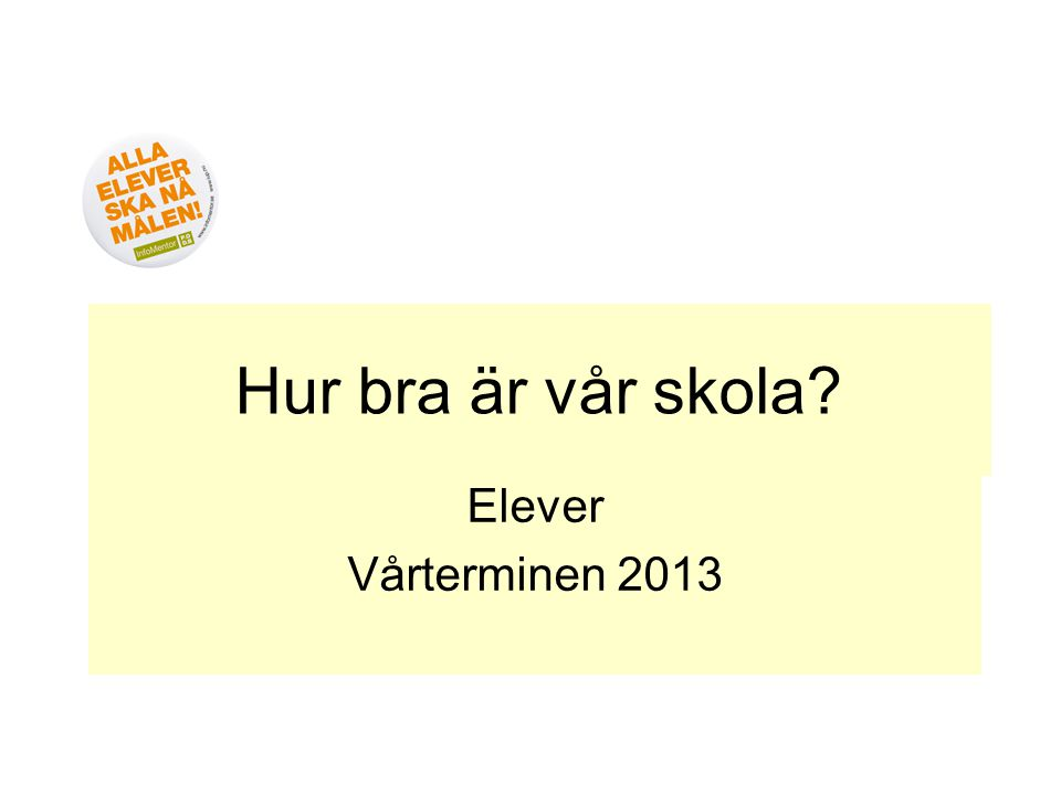 Hur bra är vår skola Elever Vårterminen 2013