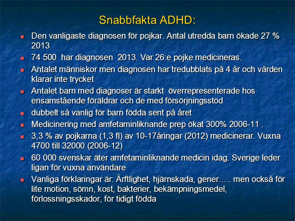 Snabbfakta ADHD: Den vanligaste diagnosen för pojkar. Antal utredda barn ökade 27 % 2013. 74 500 har diagnosen 2013. Var 26:e pojke medicineras.