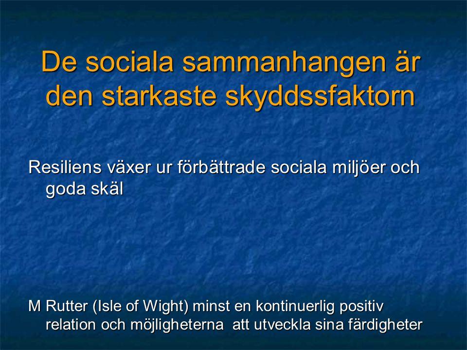 De sociala sammanhangen är den starkaste skyddssfaktorn
