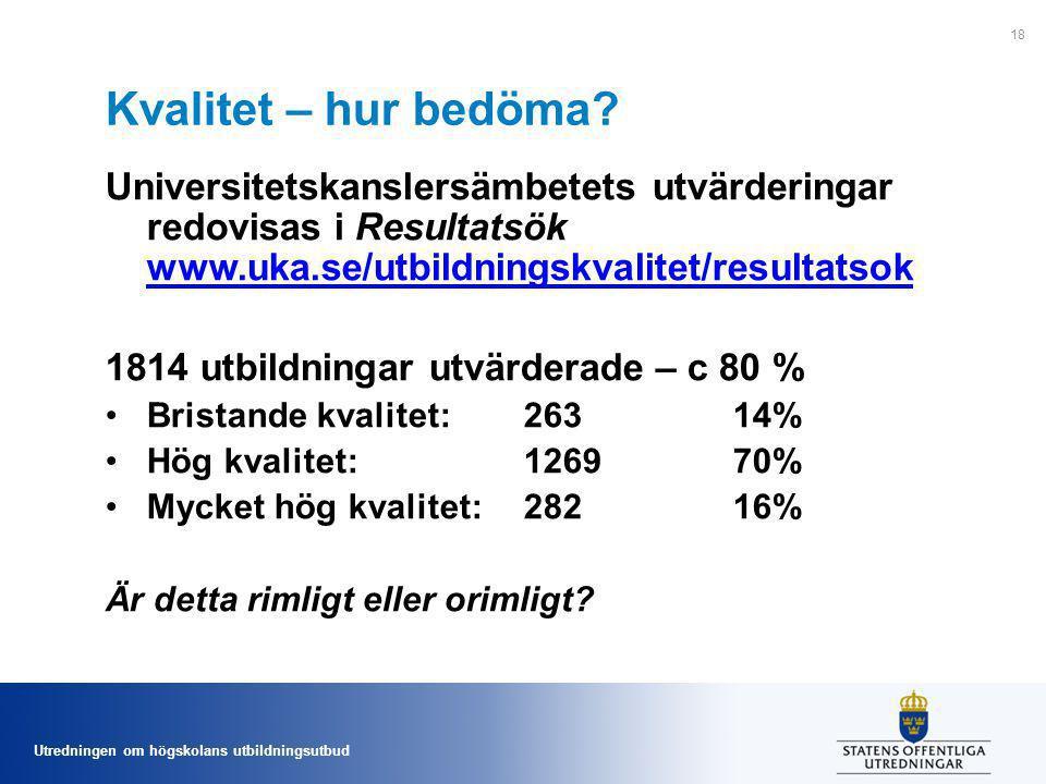 Kvalitet – hur bedöma Universitetskanslersämbetets utvärderingar redovisas i Resultatsök www.uka.se/utbildningskvalitet/resultatsok.