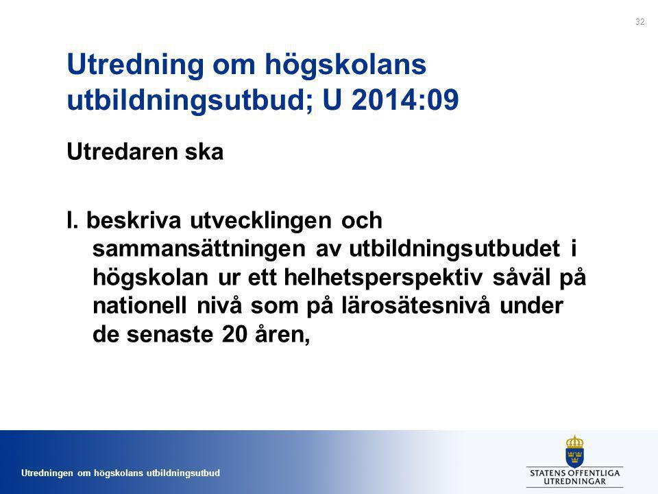Utredning om högskolans utbildningsutbud; U 2014:09