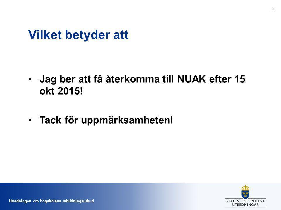 Vilket betyder att Jag ber att få återkomma till NUAK efter 15 okt 2015! Tack för uppmärksamheten!