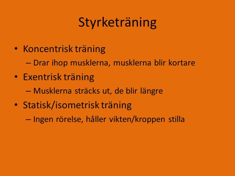 Styrketräning Koncentrisk träning Exentrisk träning