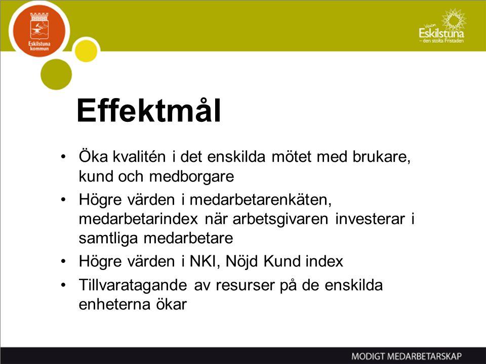 Effektmål Öka kvalitén i det enskilda mötet med brukare, kund och medborgare.
