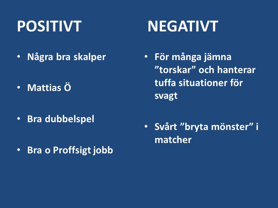 POSITIVT NEGATIVT Några bra skalper Mattias Ö Bra dubbelspel