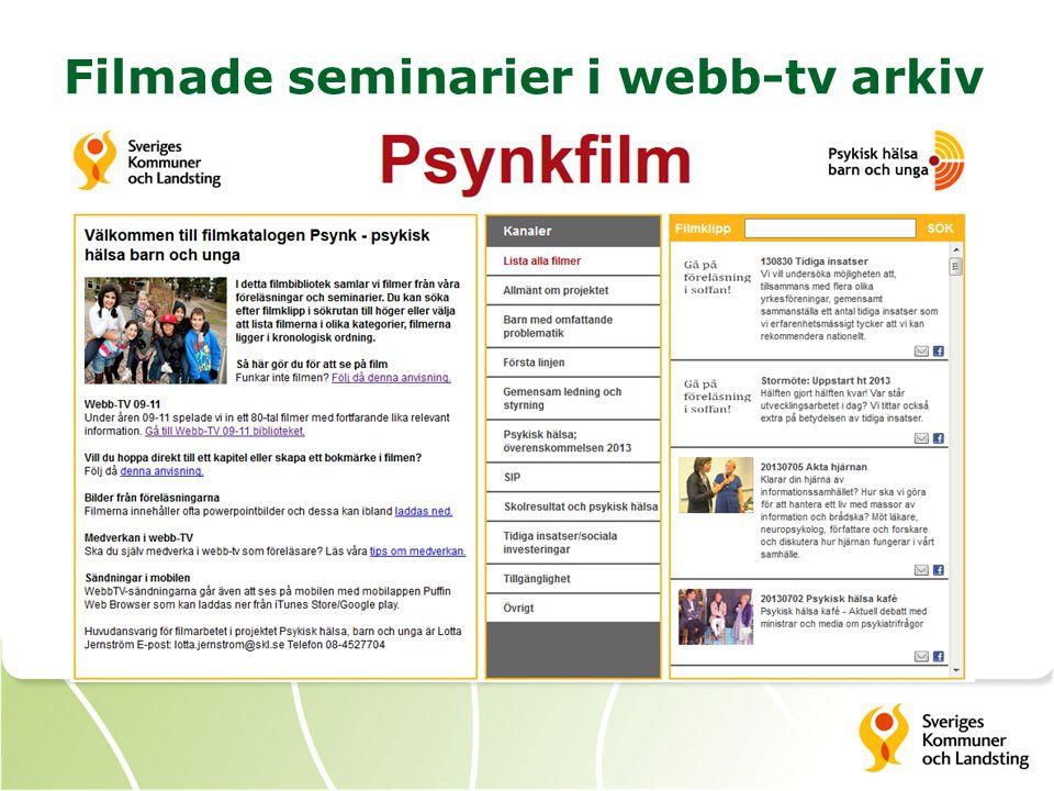 Filmade seminarier i webb-tv arkiv